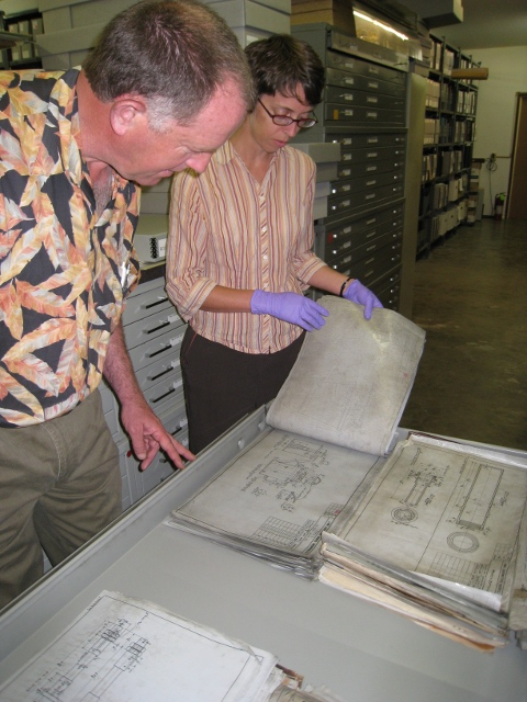 George Sapp and Librarian Cara Randall examing Lima drawings