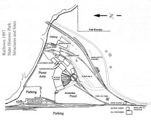 Map showing locations of the Roundhouse, and the Tri-Dam Shops (Maintenance).