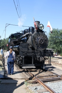 Bringing the #2 out of the roundhouse-Brakeman Stephanie Tadlock on the turntable.