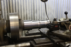 The lathe in action.