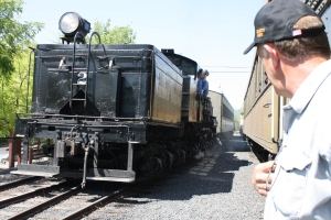 Railroad Restoration Lead Worker, George Sapp, squeezes in some time to help diagnose performance problems on the Shay #2.
