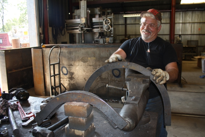 Rick Willson is building curved angle-iron for the tender.