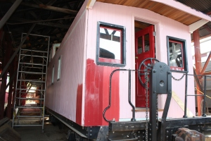 A pink caboose?  Of course not, silly!  It's the primer.