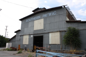 Outside the historic Southern Pacific shops (now used by California State Railroad Museum)