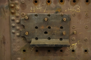 Left side top front furnace bearer on the old boiler.