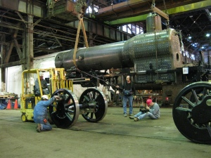 The driving wheels were then brought in onto the track.