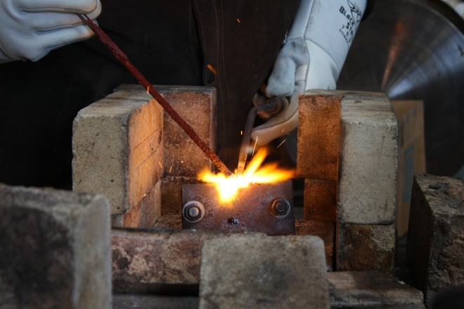 Consistent heat throughout the process is important with cast-iron welding.