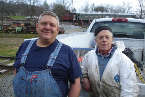 Electrician Steve Spath, and Railroad Restoration worker Jim Bays, both employees from Sacramento working at Railtown this month