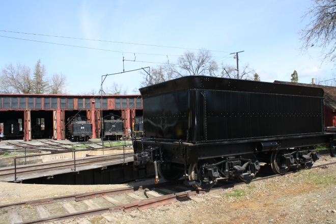 The tender for the #3 now parked in view of the roundhouse