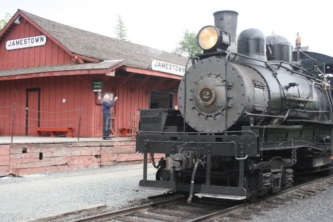 Sierra No. 2 (Shay-style locomotive) parked at the Jamestown Depot
