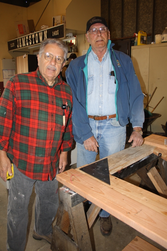 Marty and Jim are working on replacement frames for our huge roundhouse doors, some of which have been unsafe to use.