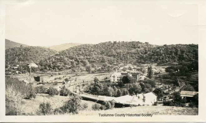 Looking down onto the depot (seen in the approximate center of image) from the hill above today's JS West.  This photo was probably taken in the early 1940s.