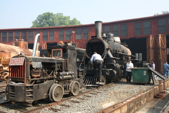 The No. 28 is pulled out of the roundhouse for the final time, for easier removal of the jacket and lagging