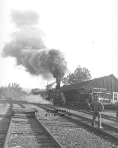 The No. 28 at the Jamestown Depot during filming of Death Valley Days, October 6, 1962. Photo by Brian Curnow.