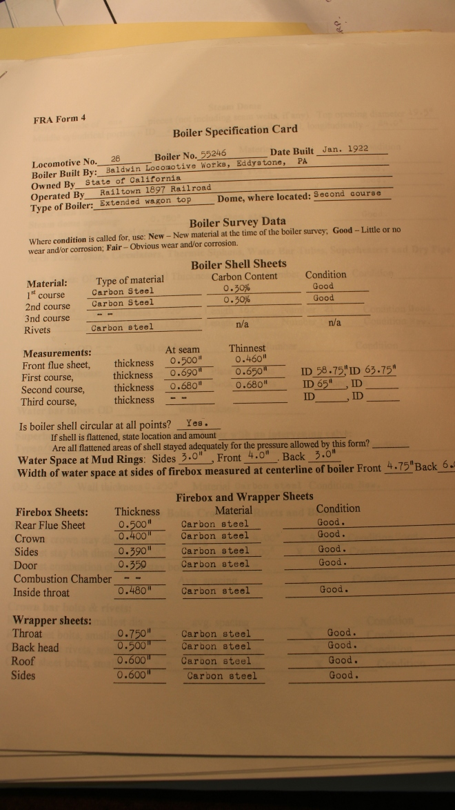 A copy of the previous Form 4, completed in 2003.  The form is several pages long.  Measurements are listed on the form, in addition to the results of calculations.