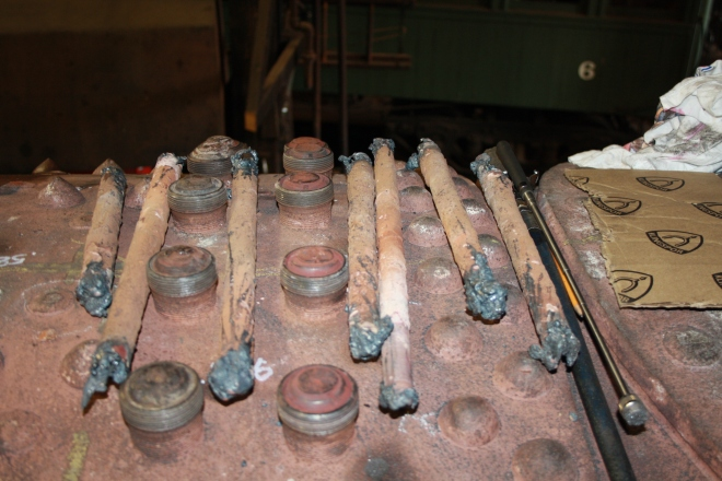 Staybolts that have been removed due to excess corrosion.