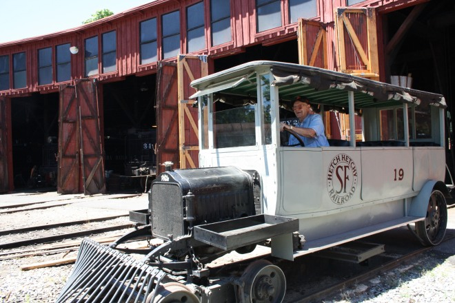 "Volunteer John Stier pilots the No. 19 ""Hetch Hetchy Car."""