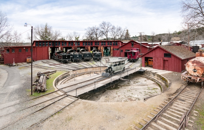 View of the Roundhouse and turntable. Photo by Michael Sharps