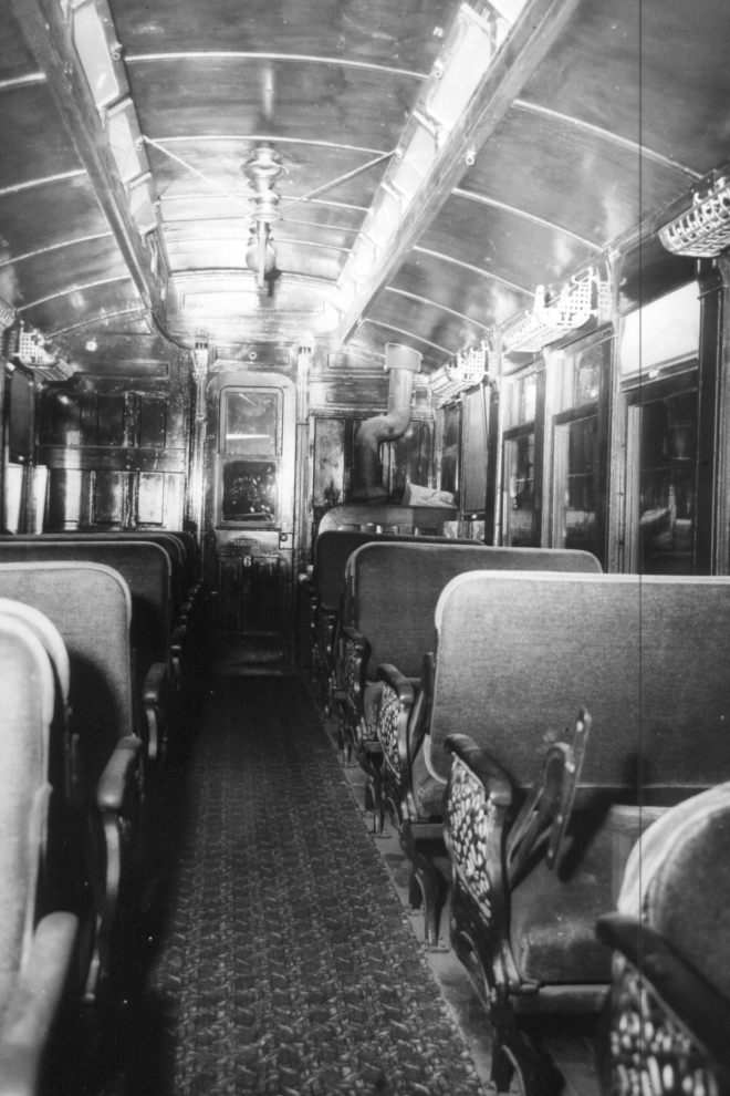 The interior of Coach No. 6 as it still looks today, beautifully and simply detailed.