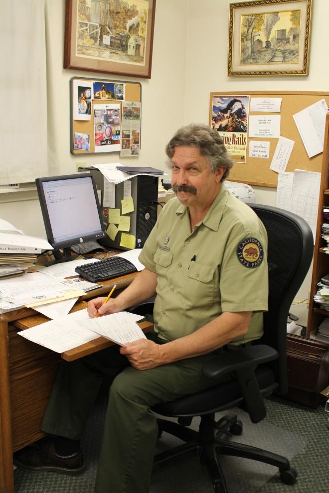 Volunteer Coordinator Dave!  Working on the volunteer schedule.