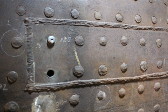 Butt welded patches are a common repair practice.  This is an example of a previous repair on the No. 28.