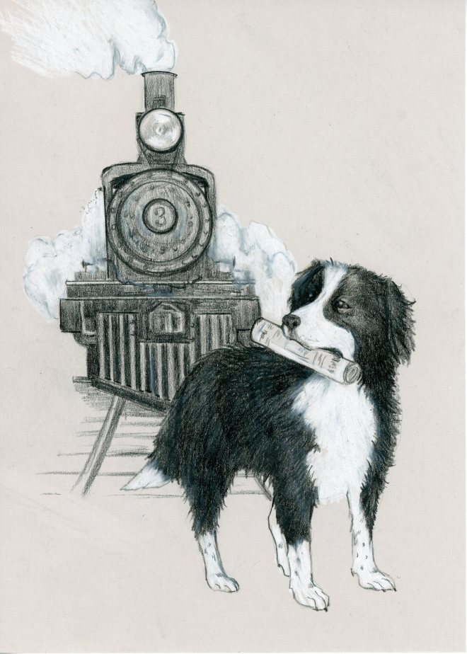 Buster the Sierra Railway Dog- artist's rendition by Karen Kling