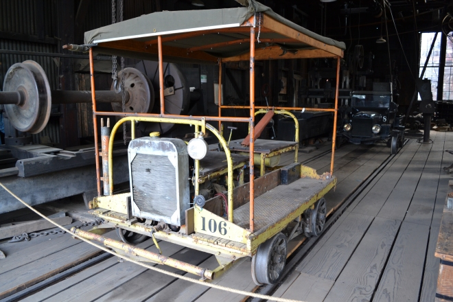 SRy 106 in machine shop of the roundhouse.