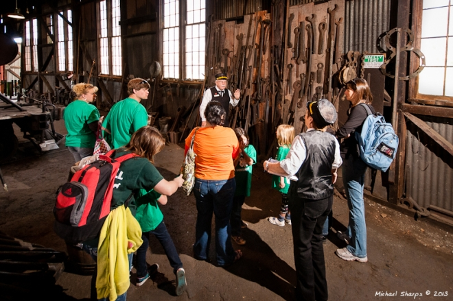 Railtown Volunteer help visitors understand why This Place Matters.