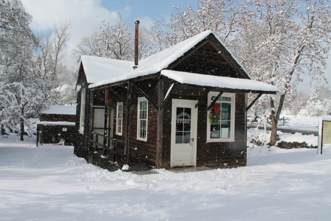 The California Store at Columbia State Historic Park with a rare dusting of snow